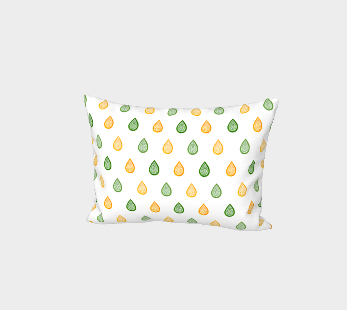 Yellow and green raindrops Bed Pillow Sham preview
