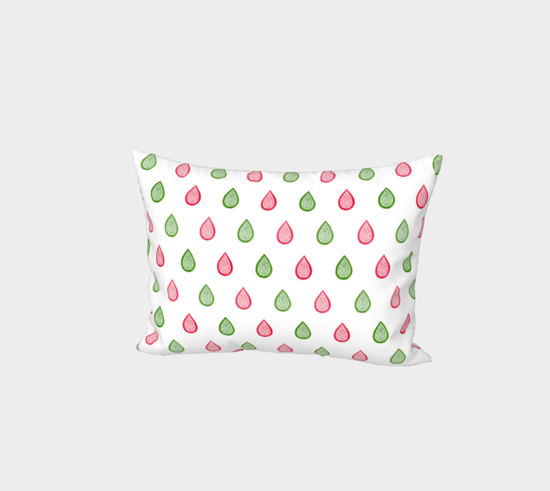 Pink and green raindrops Bed Pillow Sham preview