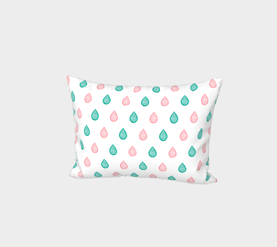 Teal blue and coral pink raindrops Bed Pillow Sham preview