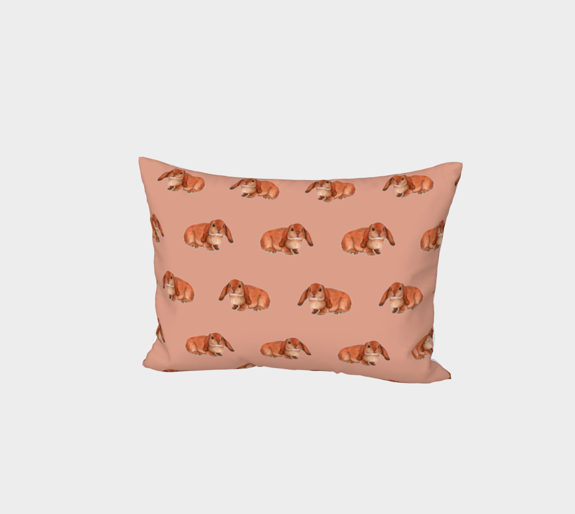 Red rabbit ram pattern Bed Pillow Sham preview