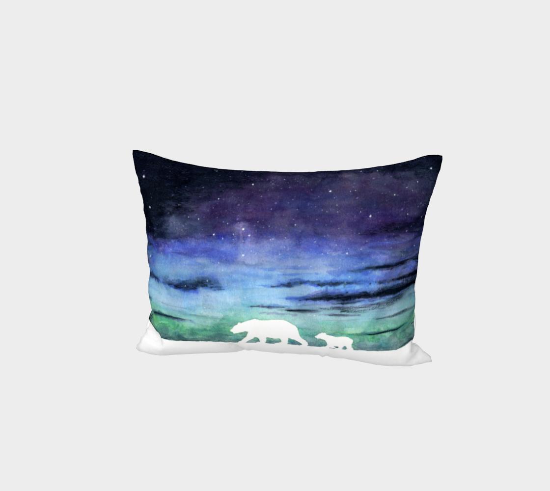 Aurora borealis and polar bears (white version) Bed Pillow Sham preview