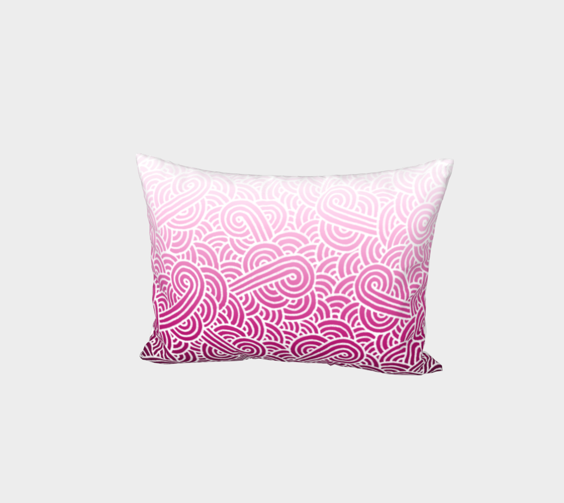 Ombré pink and white swirls doodles Bed Pillow Sham preview