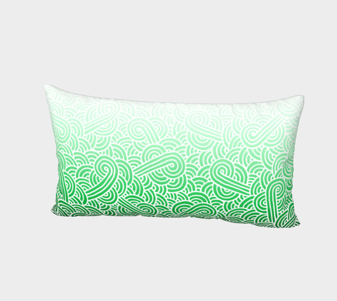 Ombré green and white swirls doodles Bed Pillow Sham preview #2