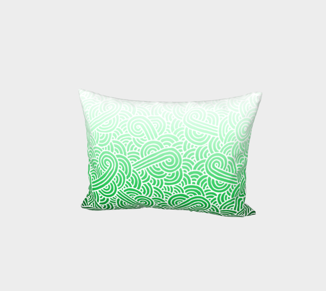 Ombré green and white swirls doodles Bed Pillow Sham preview #1
