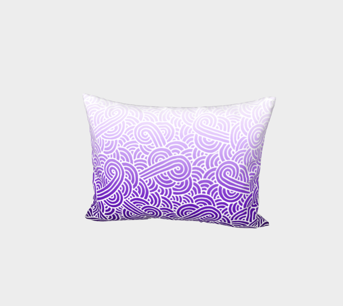 Ombré purple and white swirls doodles Bed Pillow Sham preview