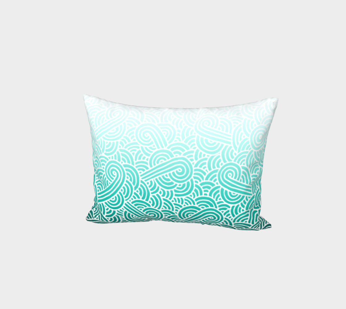 Ombré teal blue and white swirls doodles Bed Pillow Sham preview