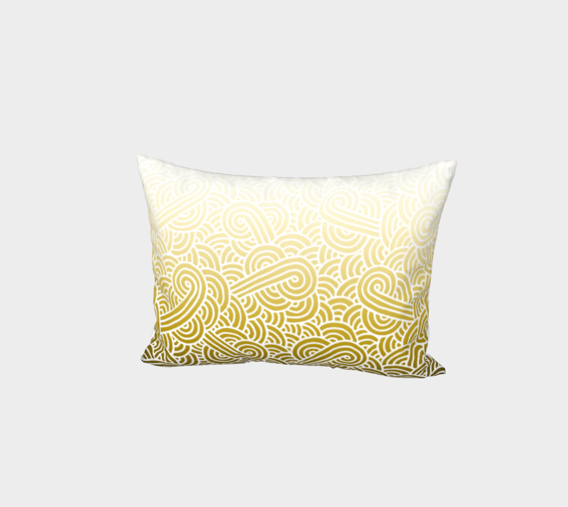 Ombré yellow and white swirls doodles Bed Pillow Sham preview