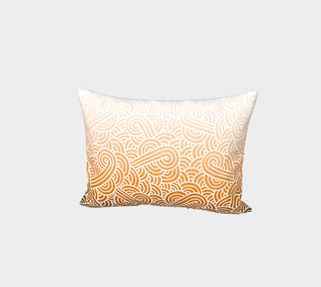 Ombré orange and white swirls doodles Bed Pillow Sham preview