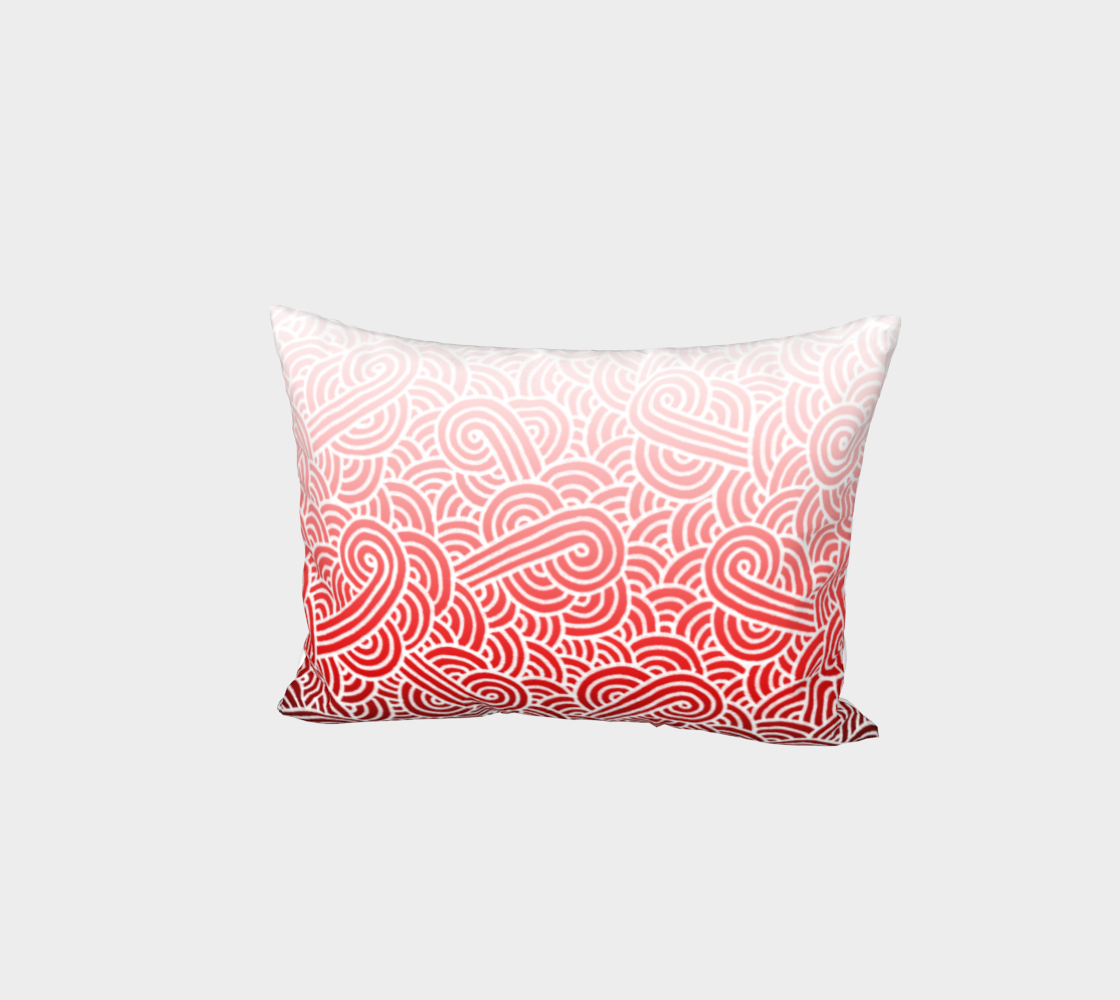 Ombré red and white swirls doodles Bed Pillow Sham preview