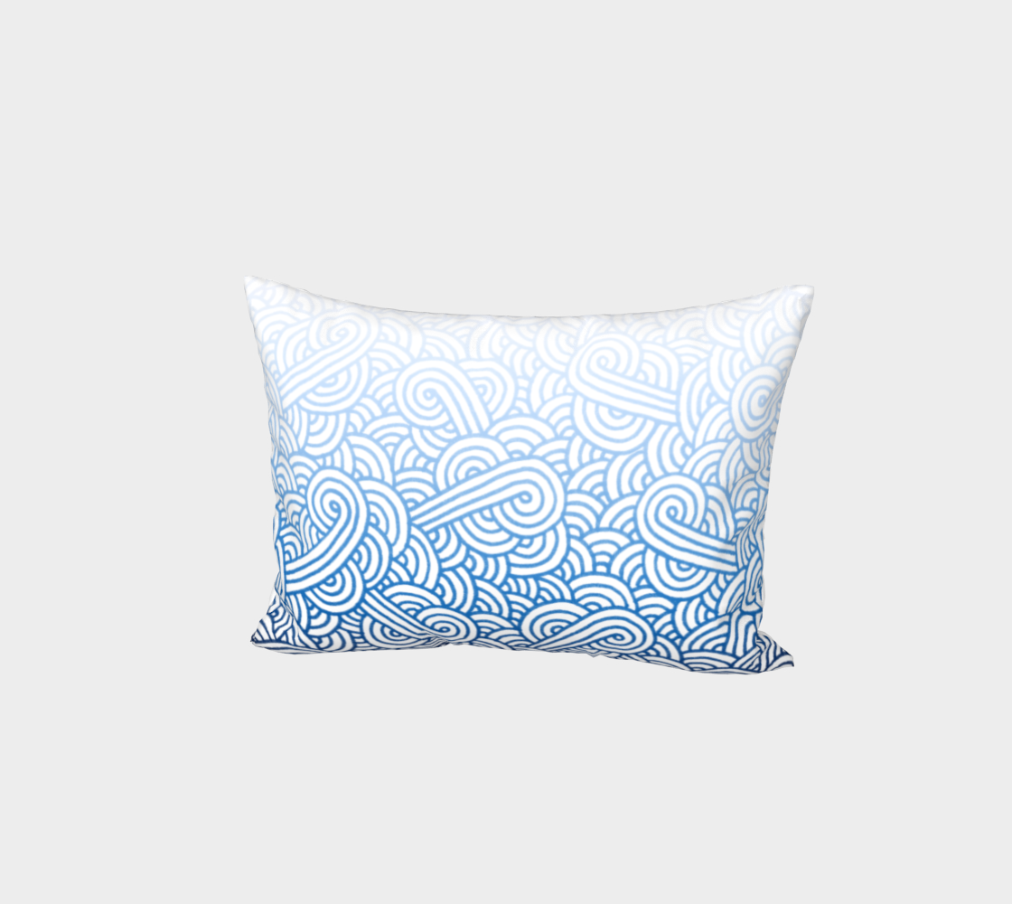 Gradient blue and white swirls doodles Bed Pillow Sham preview #1