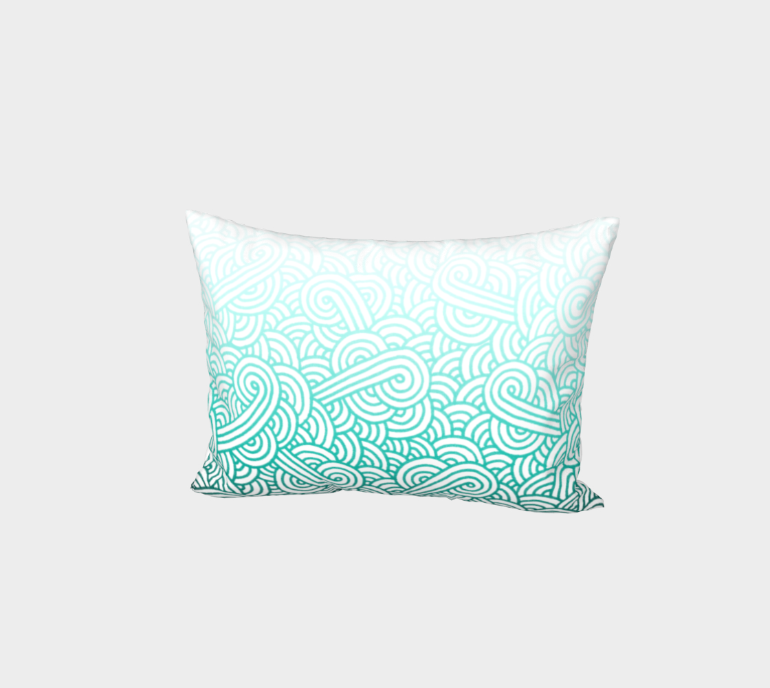 Gradient teal blue and white swirls doodles Bed Pillow Sham preview