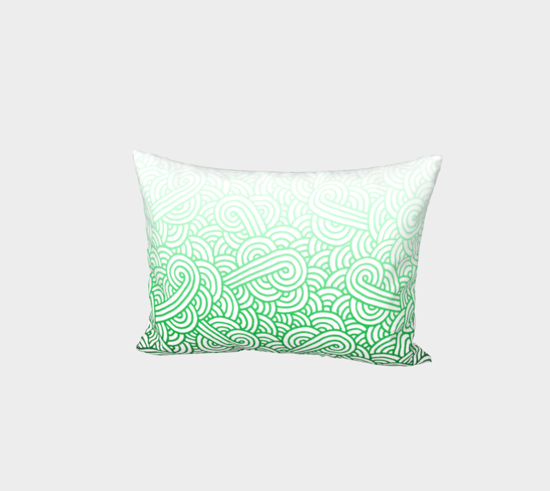 Gradient green and white swirls doodles Bed Pillow Sham preview