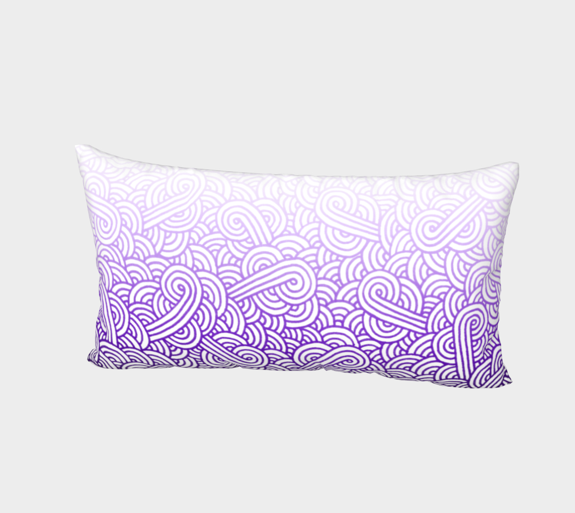 Gradient purple and white swirls doodles Bed Pillow Sham preview #2