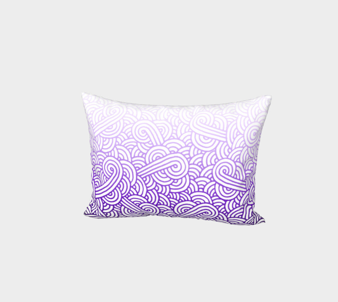 Gradient purple and white swirls doodles Bed Pillow Sham aperçu