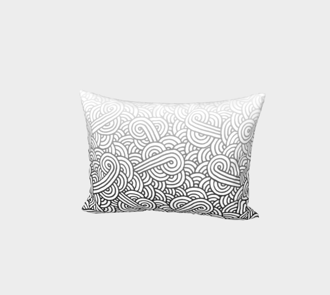 Gradient black and white swirls doodles Bed Pillow Sham preview