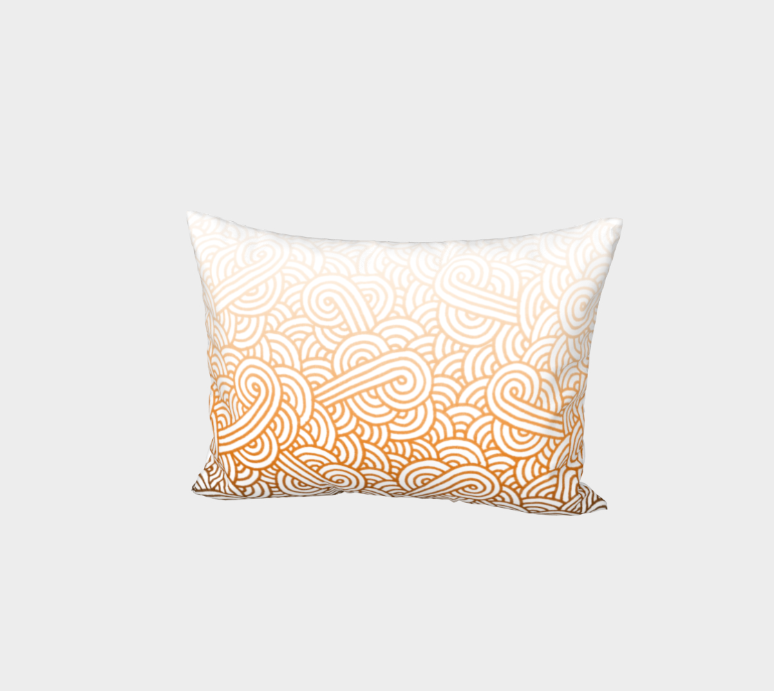 Gradient orange and white swirls doodles Bed Pillow Sham preview