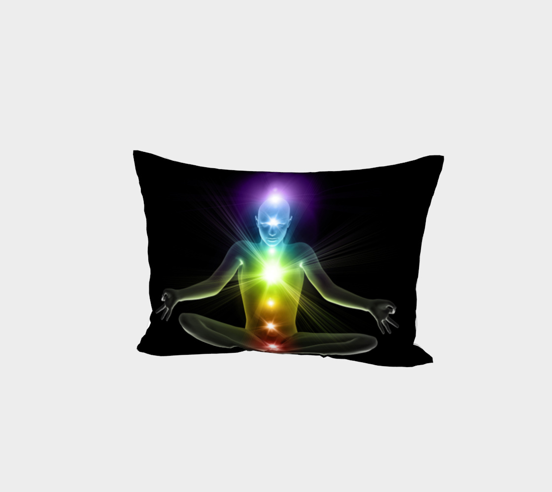 3d human in yoga pose with chakras preview