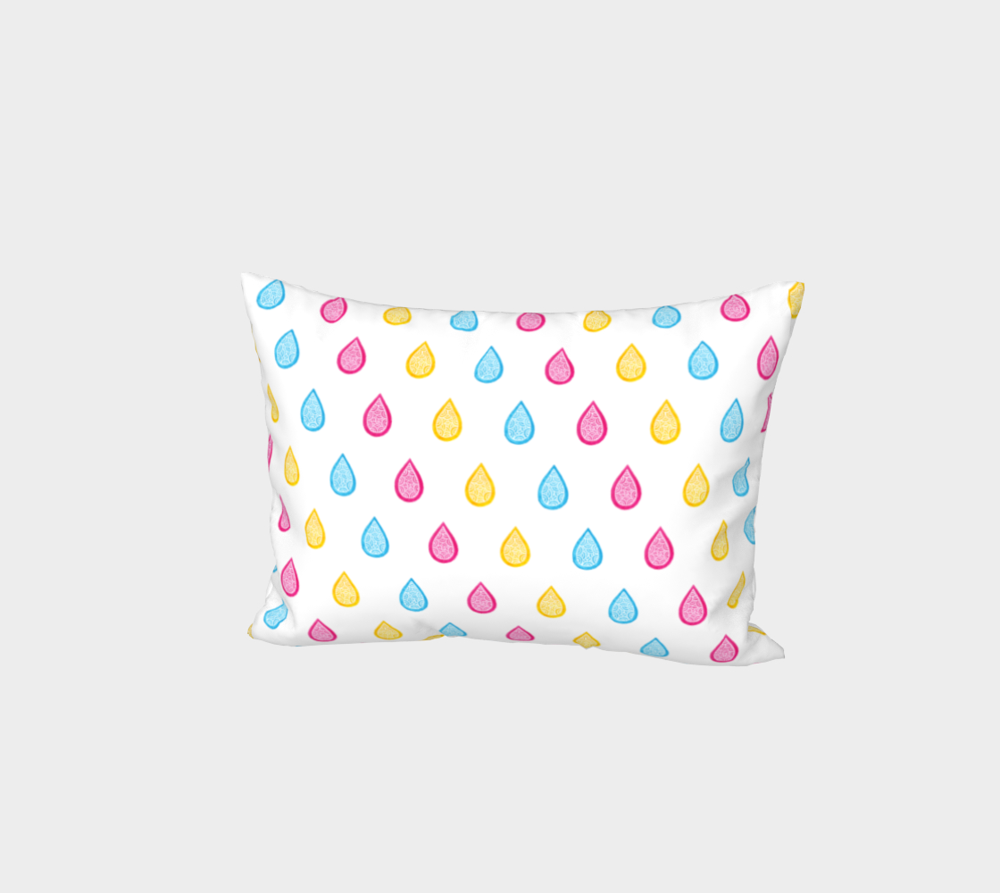 Pink, yellow and blue raindrops Bed Pillow Sham preview
