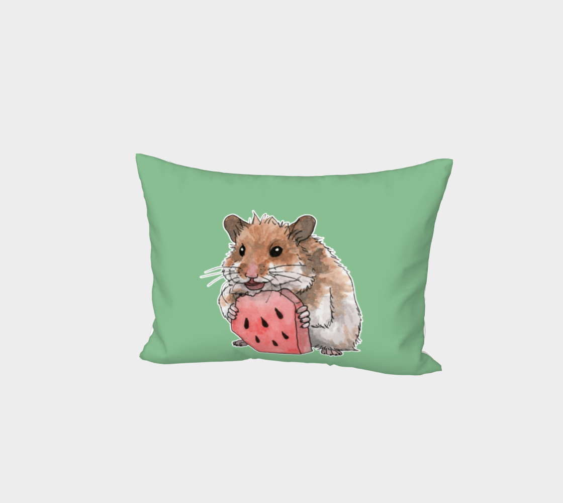 Golden hamster eating a slice of watermelon Bed Pillow Sham preview
