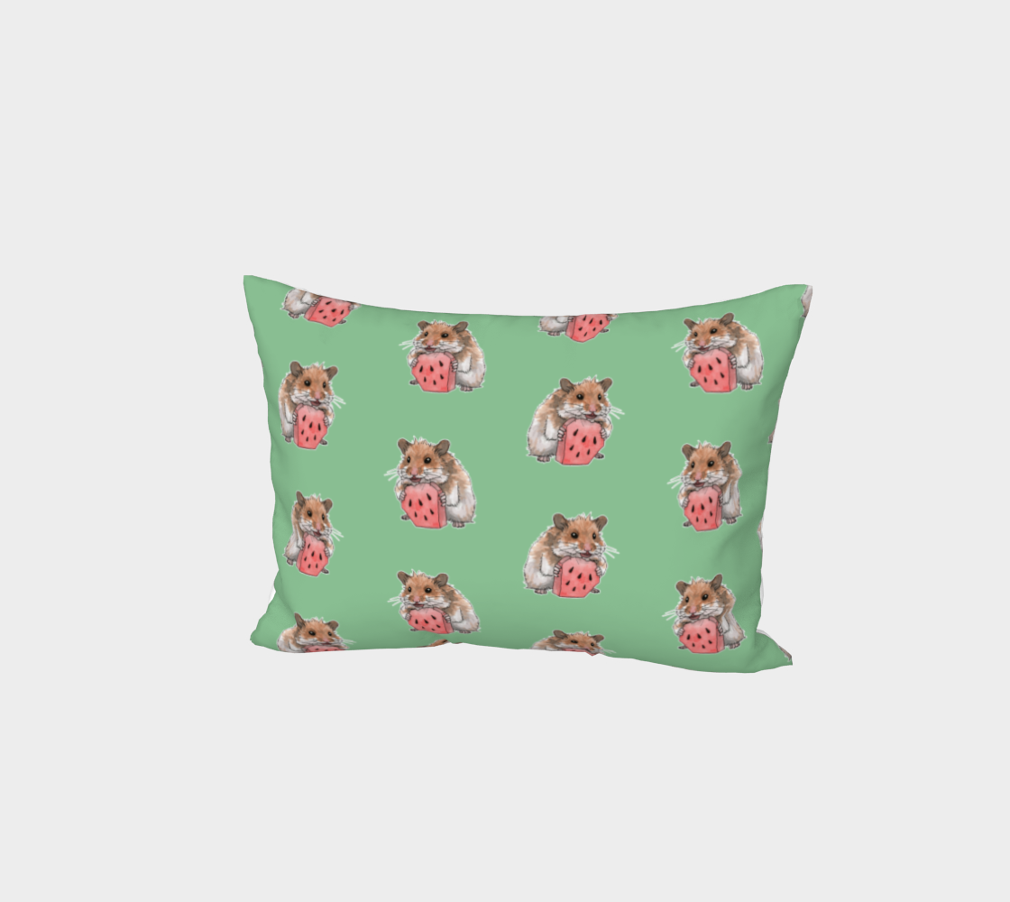Golden hamster eating a slice of watermelon pattern Bed Pillow Sham preview