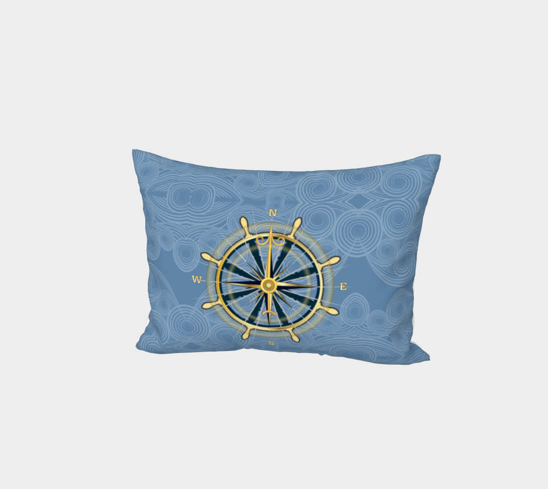 Nautical Compass Rose Bed Pillow Sham With Blue Swirls preview
