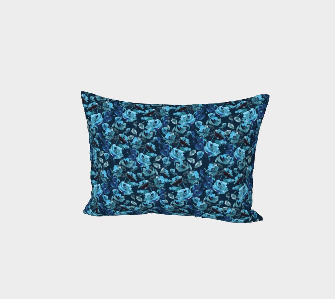 Aperçu de Blue ink floral pillow sham