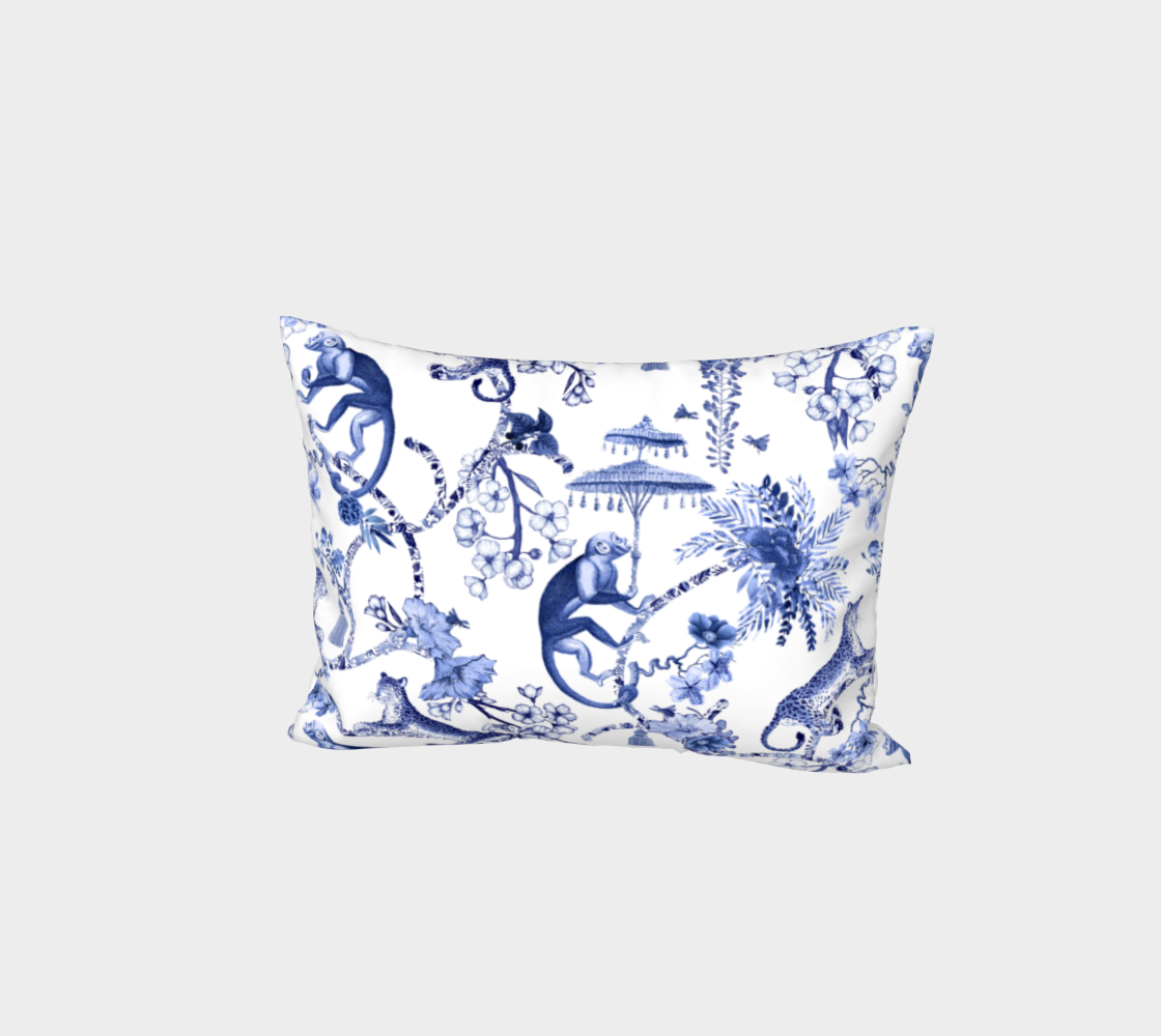 Aperçu de Chinoiserie Whimsy - Pillow Sham - White Back - Envelope Style Enclosure Back