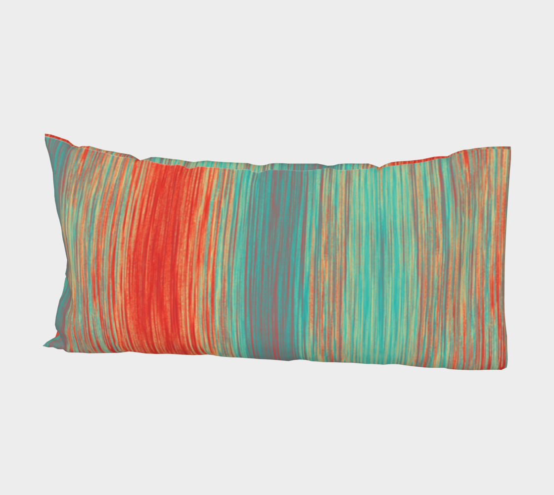 Coral Red Teal Green Blue Blended Lines Miniature #3
