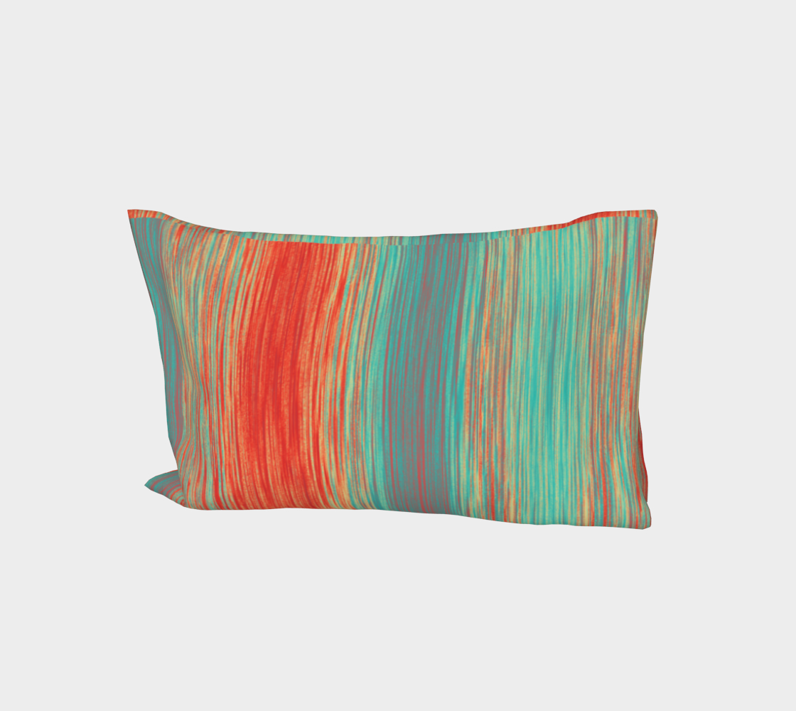 Coral Red Teal Green Blue Blended Lines Miniature #2