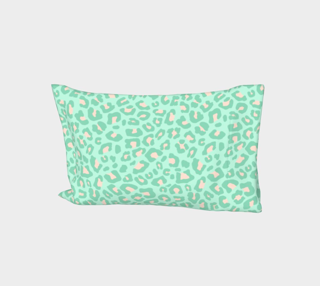 Leopard Print 2.0 - Neo Mint Bed Pillow Sleeve aperçu