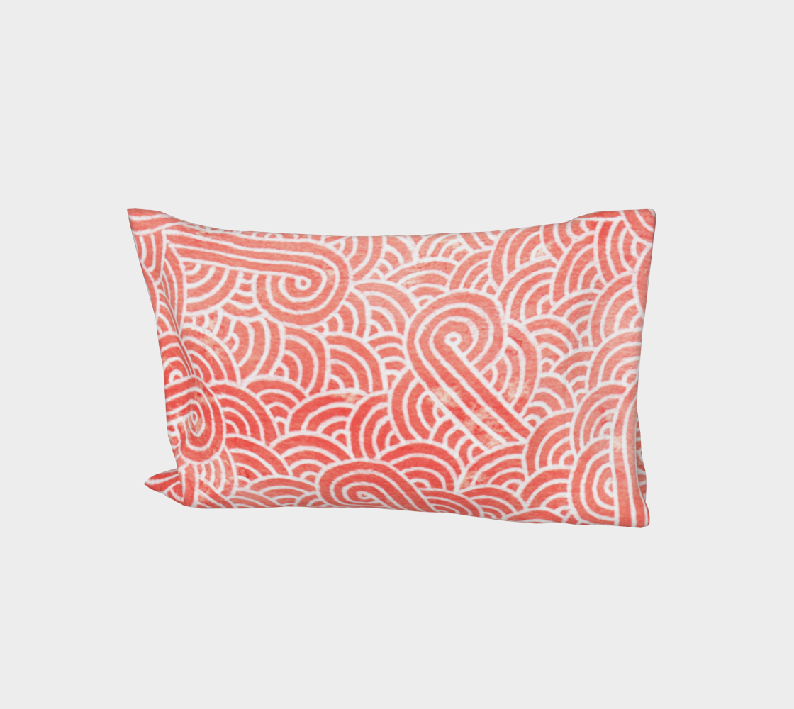 Peach echo and white swirls doodles Bed Pillow Sleeve aperçu