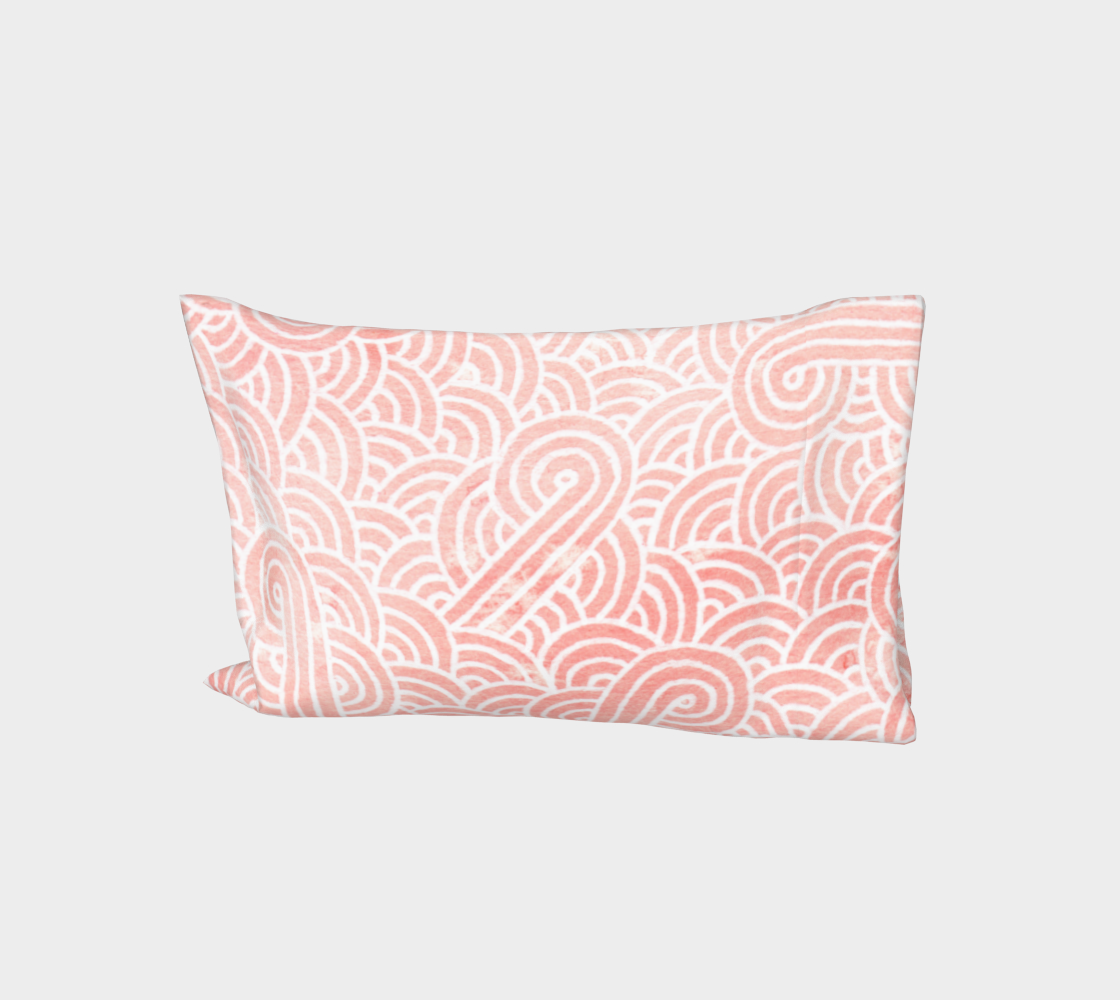 Rose quartz and white swirls doodles Bed Pillow Sleeve aperçu
