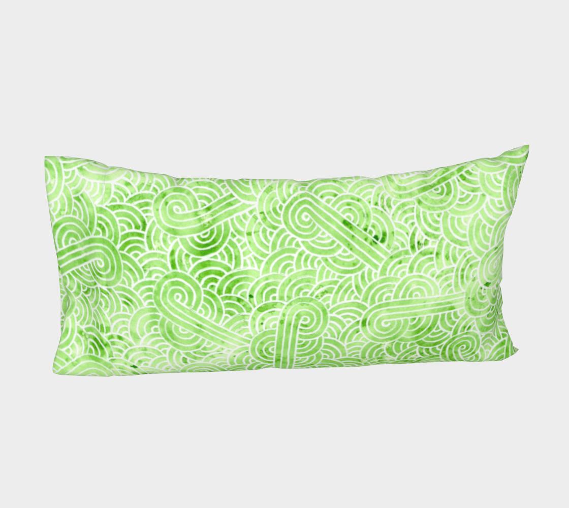 Aperçu de Greenery and white swirls doodles Bed Pillow Sleeve #4