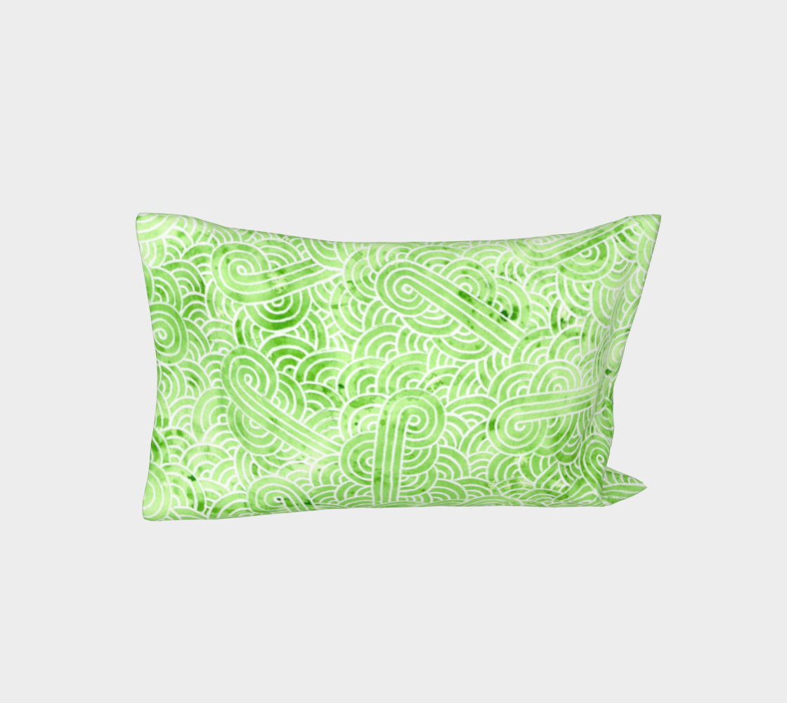 Aperçu de Greenery and white swirls doodles Bed Pillow Sleeve #3