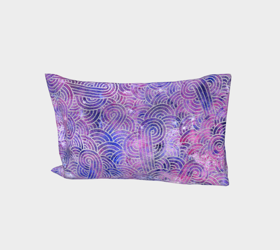 Purple and faux silver swirls doodles Bed Pillow Sleeve aperçu