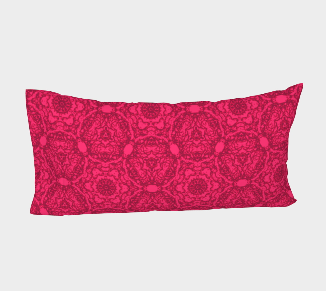 Aperçu de Bright Pink Lacey Pattern Bed Pillow Sleeve #4