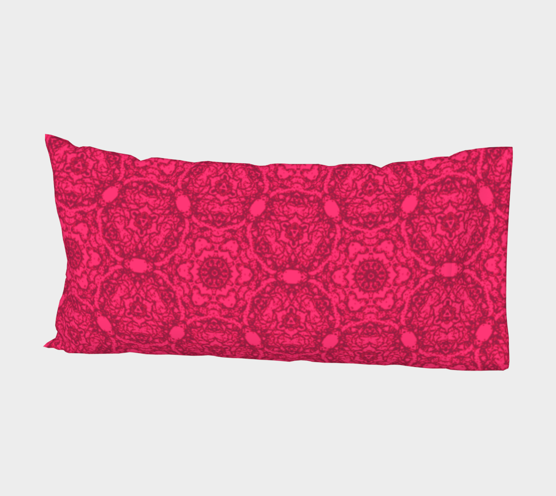 Aperçu de Bright Pink Lacey Pattern Bed Pillow Sleeve #2