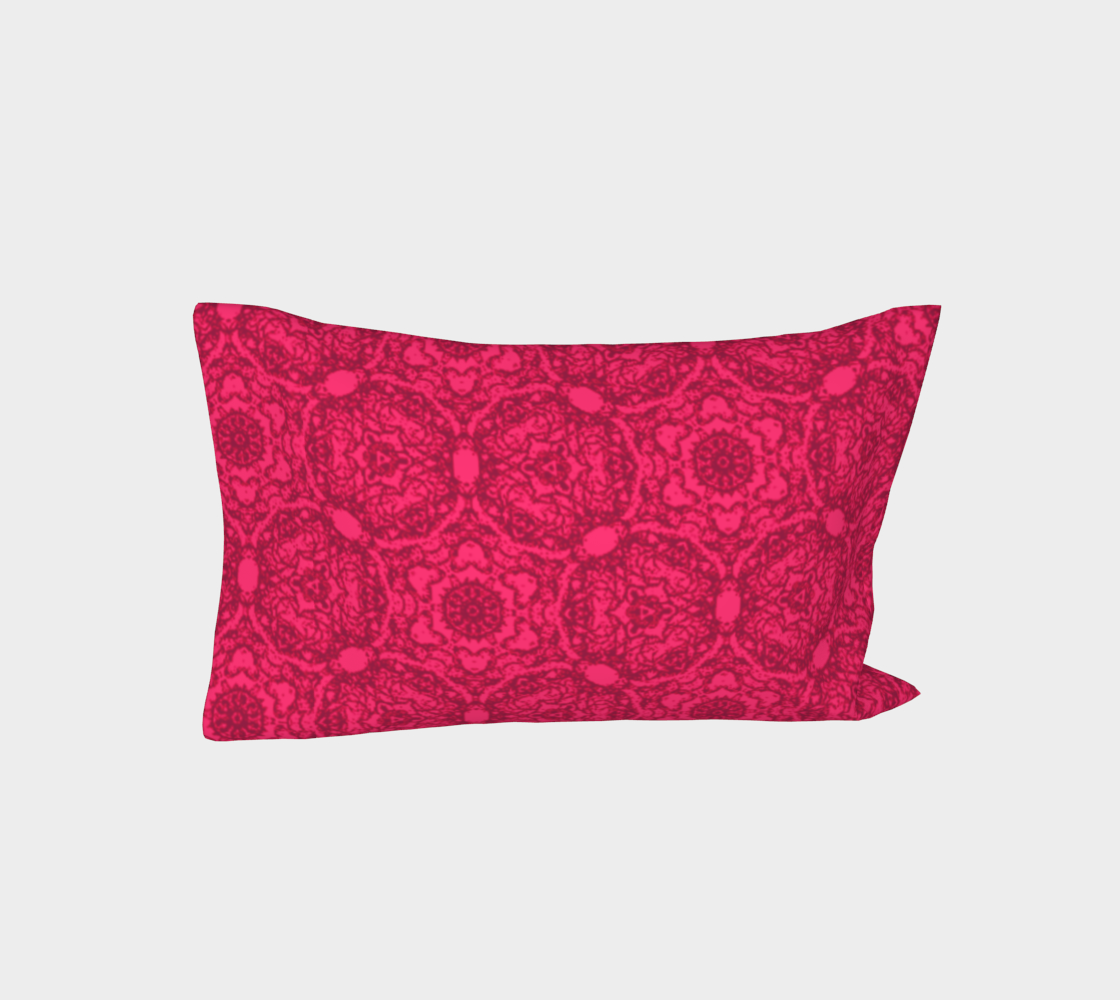 Aperçu de Bright Pink Lacey Pattern Bed Pillow Sleeve #3