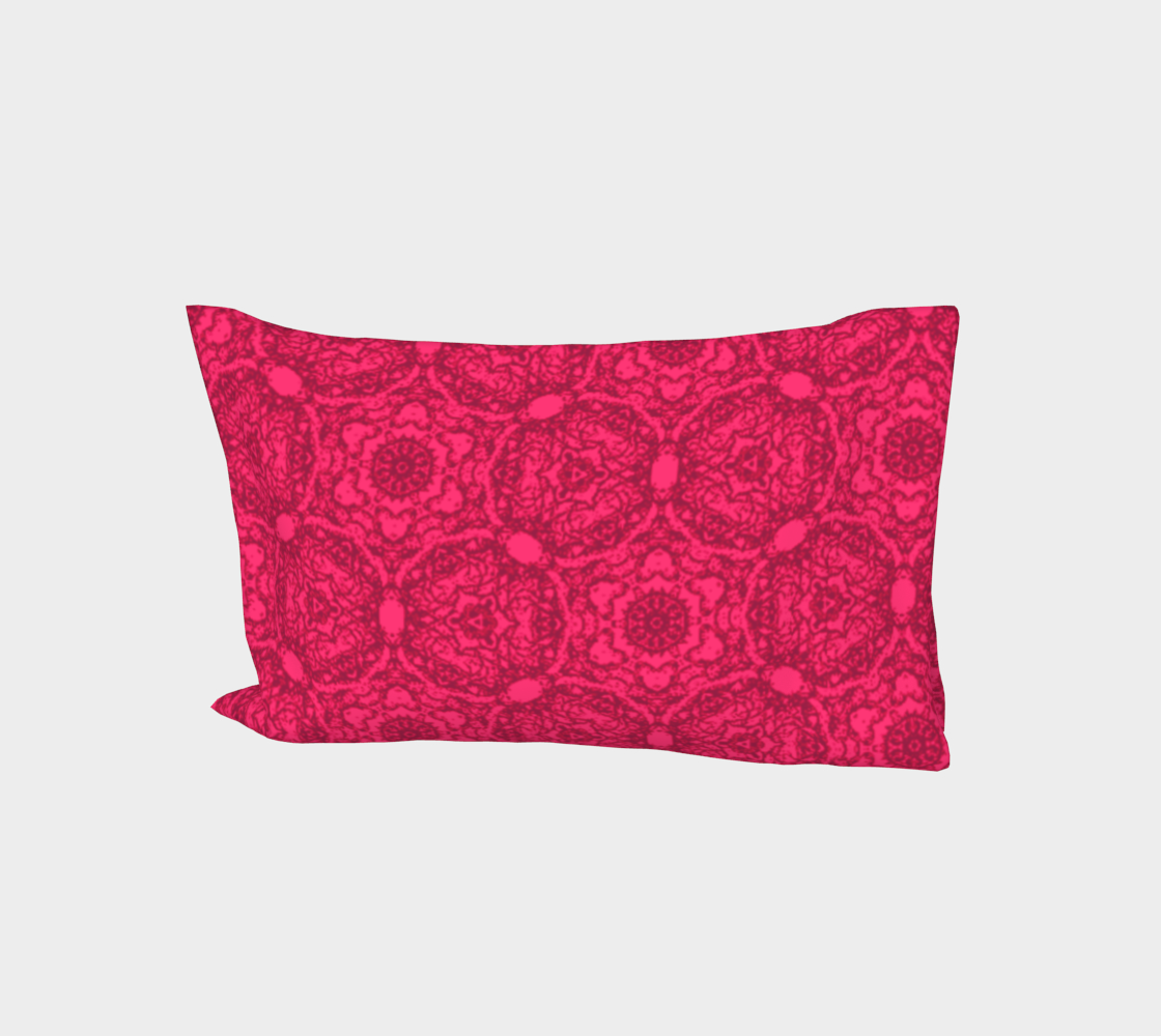 Aperçu de Bright Pink Lacey Pattern Bed Pillow Sleeve #1