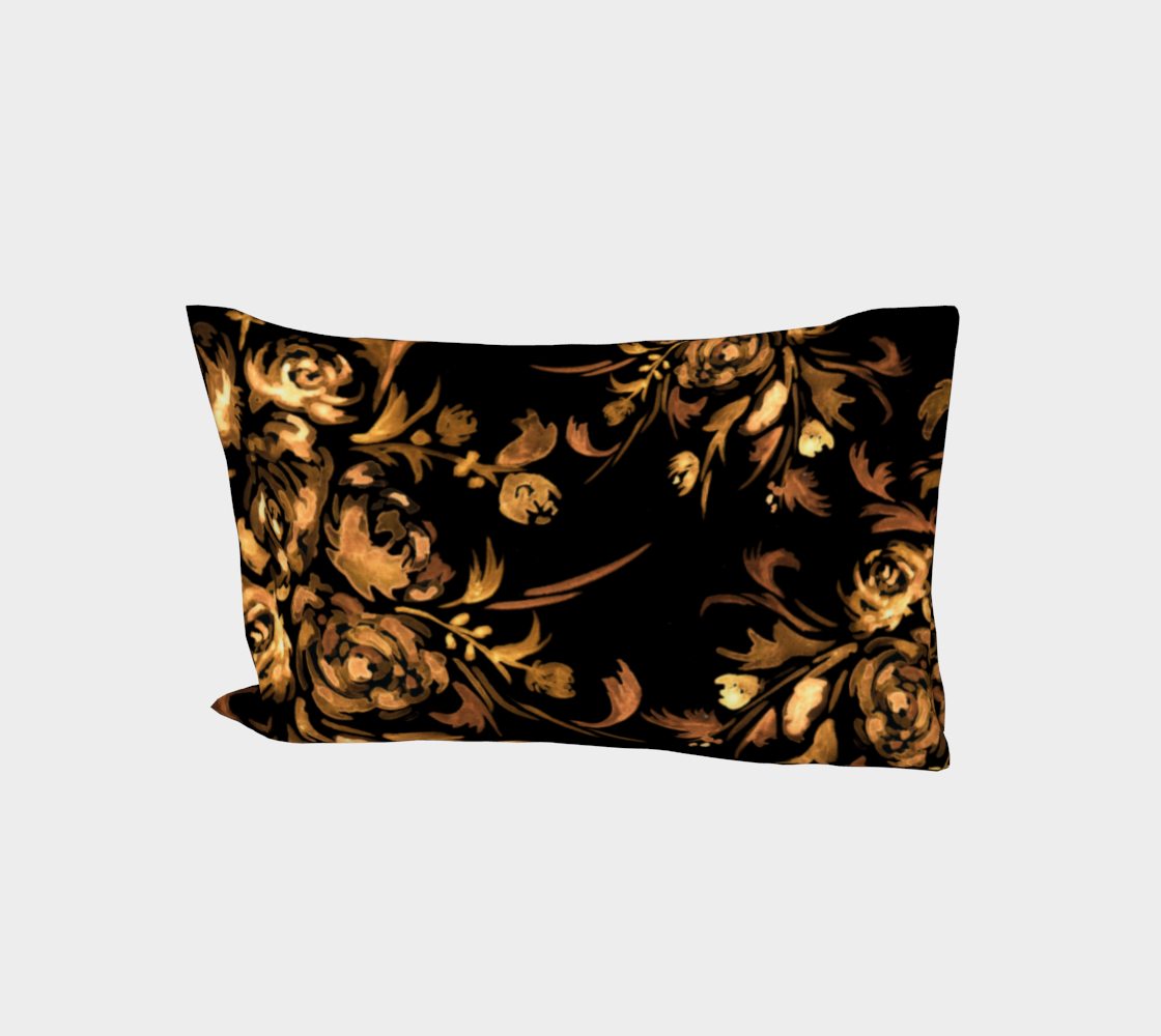 Golden Roses on Black Bed Pillow Sleeve preview