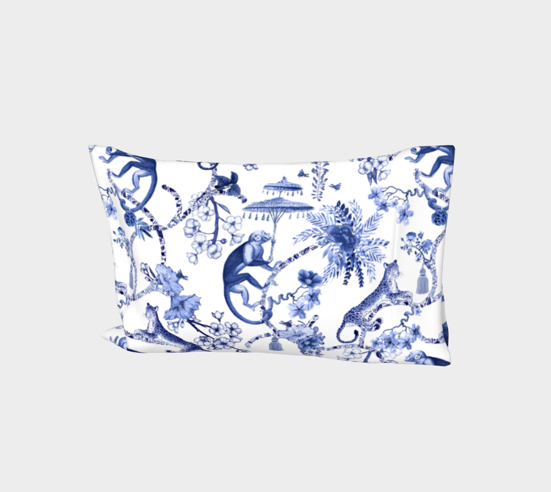 "Chinoiserie Bed Pillow Sleeve Cover - ""Chinoiserie Whimsy""  