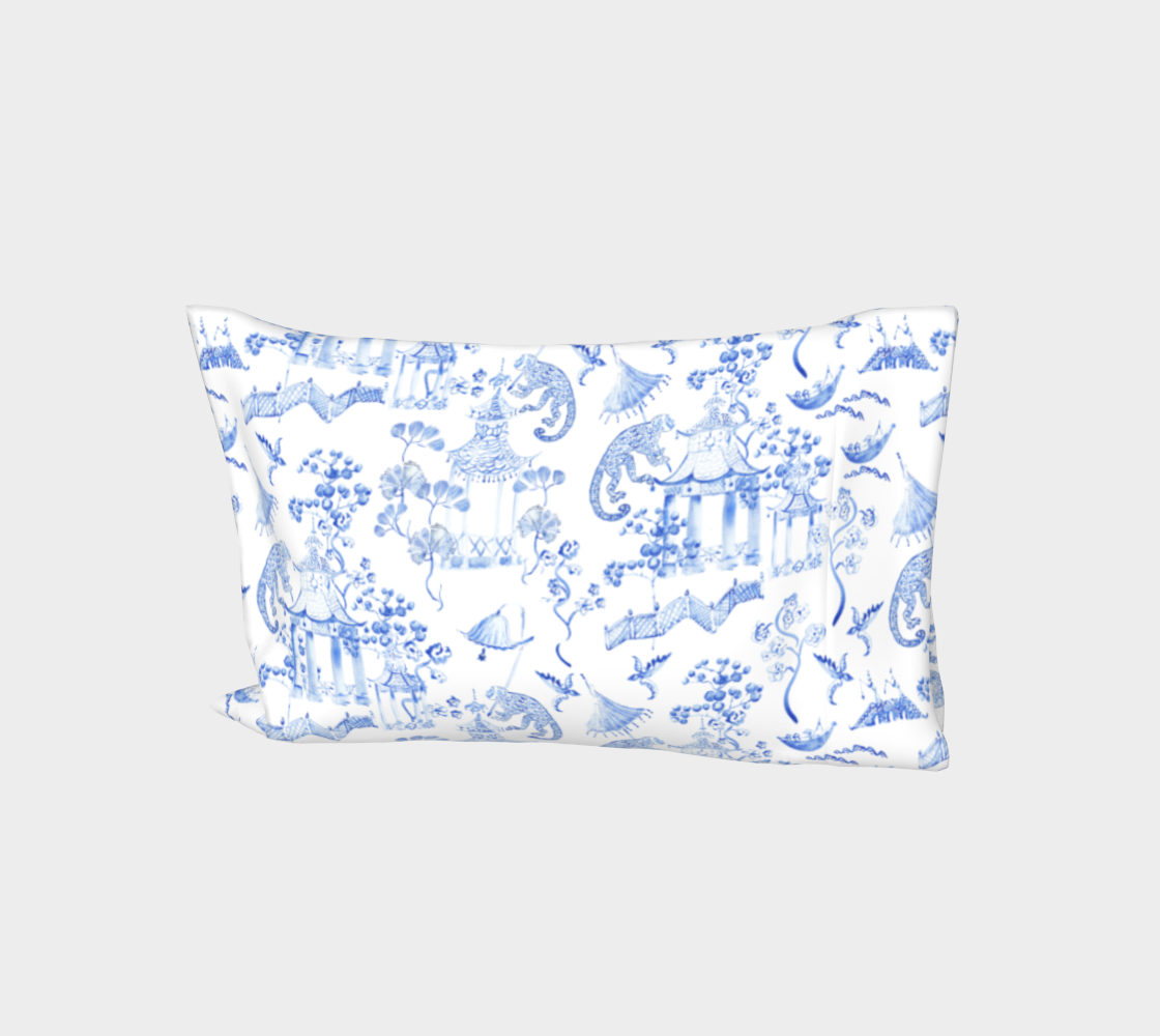 "Chinoiserie Bed Pillow Sleeve Case - "" Hand Painted Watercolour Chinoiserie"" 