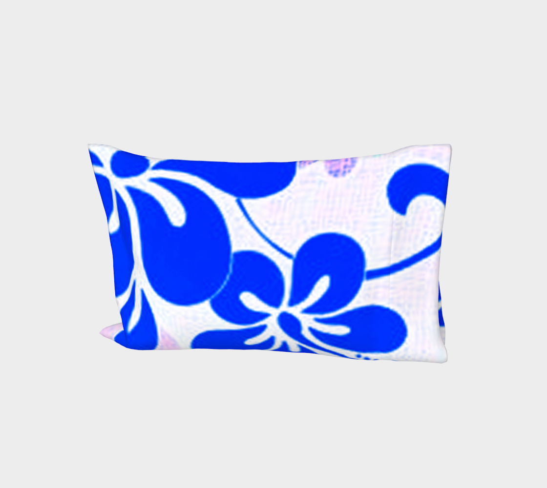 Blue and Lavender Hibiscus Bed Pillow Sleeve preview