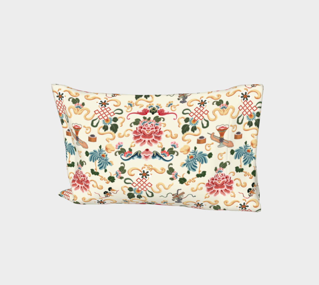 """Aperçu de Bed Pillow Sleeve - """"Chinoiserie Joie de Chinois"""" on Off White"""