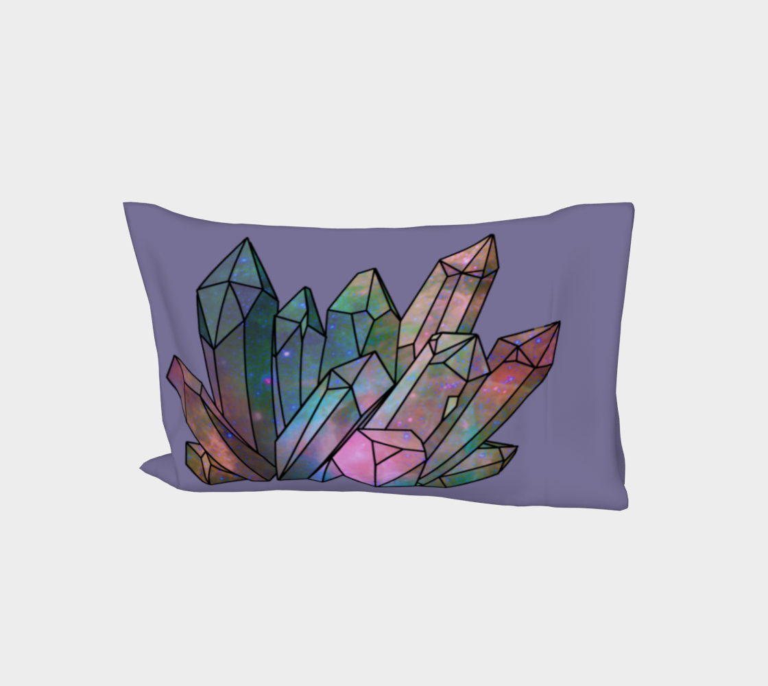 Cosmic Crystals Unicorn Rainbow Aura Bed Pillow Sleeve Lavender AOW preview