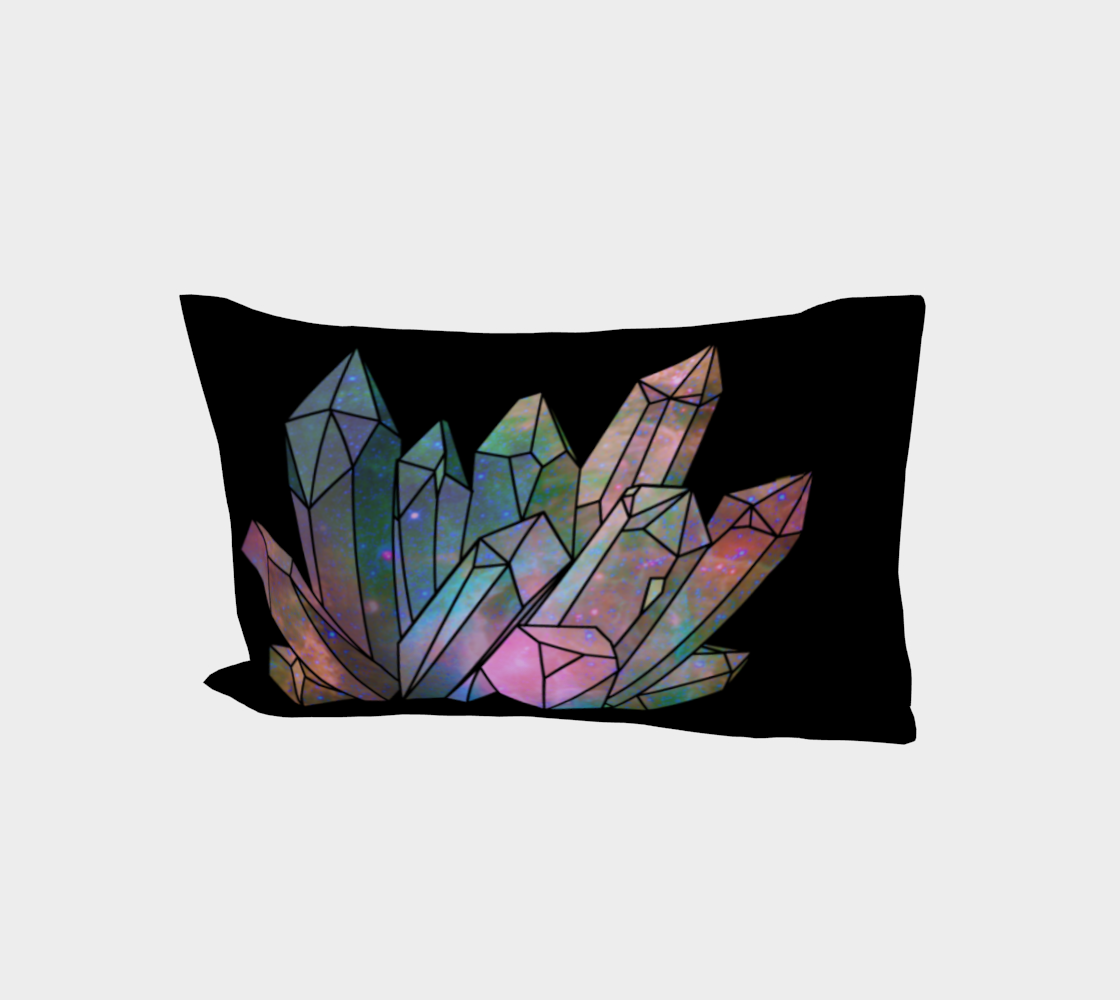 Cosmic Crystals Unicorn Rainbow Aura Bed Pillow Sleeve Black AOW preview