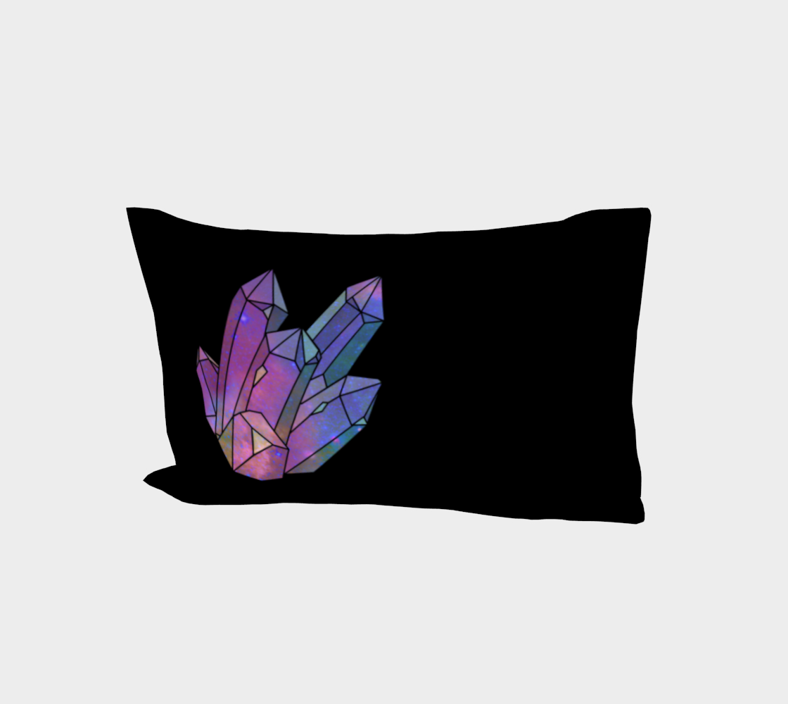 Cosmic Crystals Amethyst Rainbow Bed Pillow Sleeve Black preview