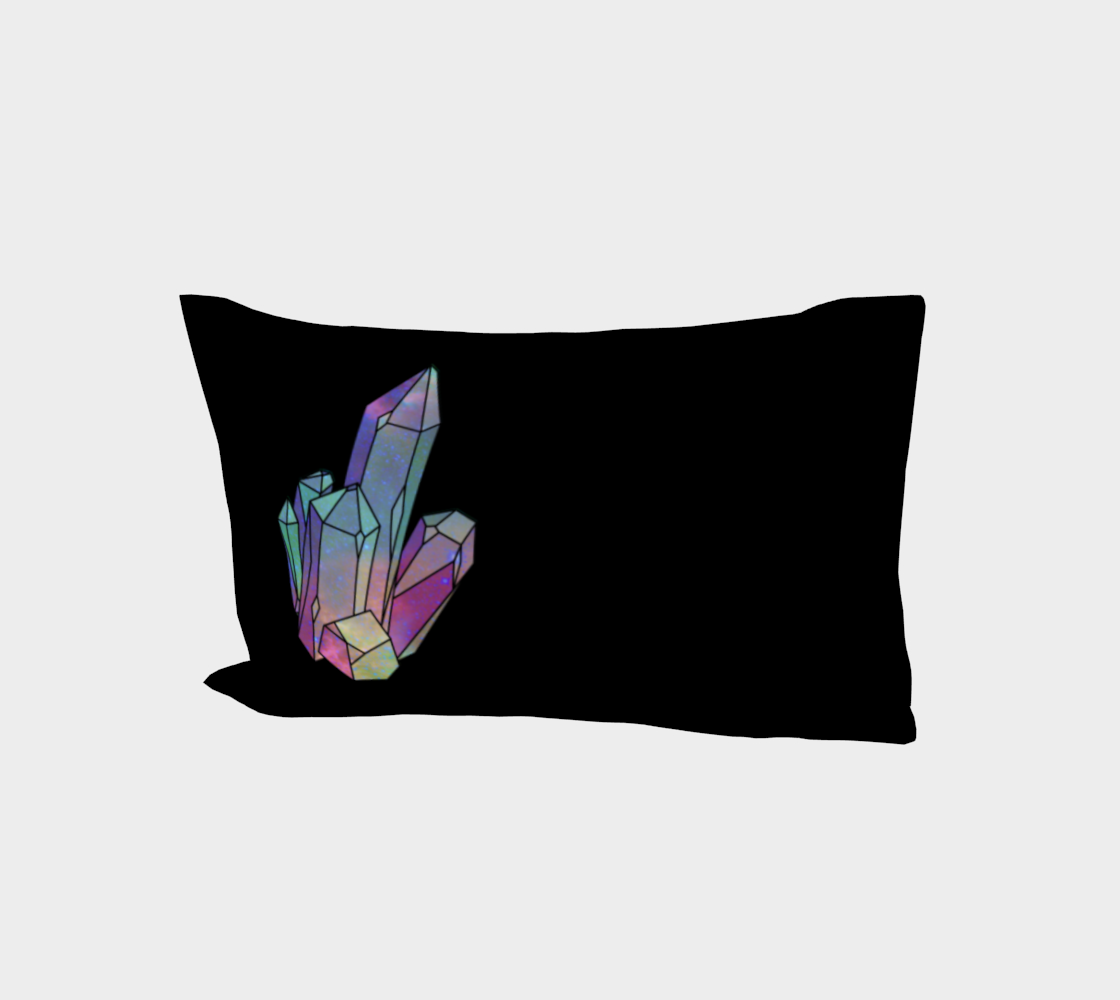 Cosmic Crystals Quartz Rainbow Bed Pillow Sleeve  Black preview
