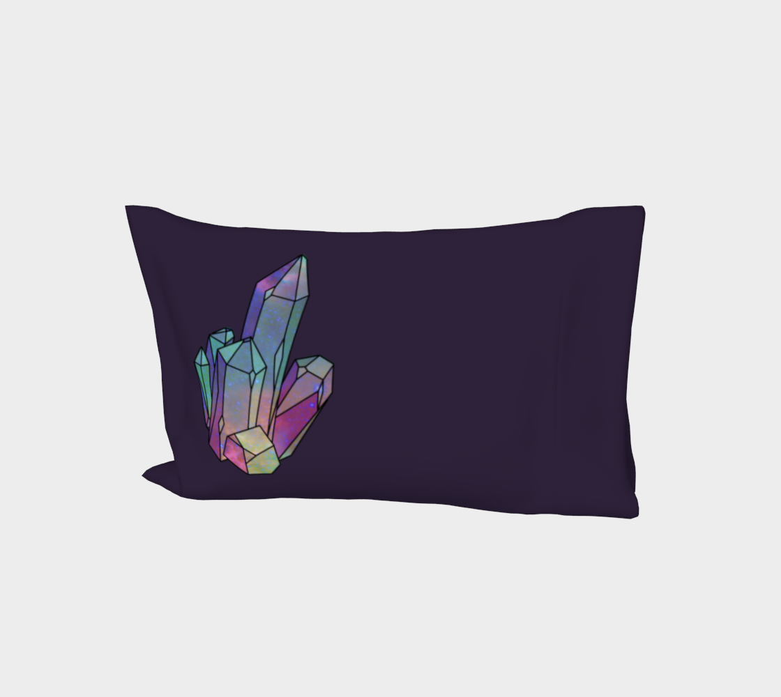 Cosmic Crystals Quartz Rainbow Bed Pillow Sleeve  Dark Lilac preview