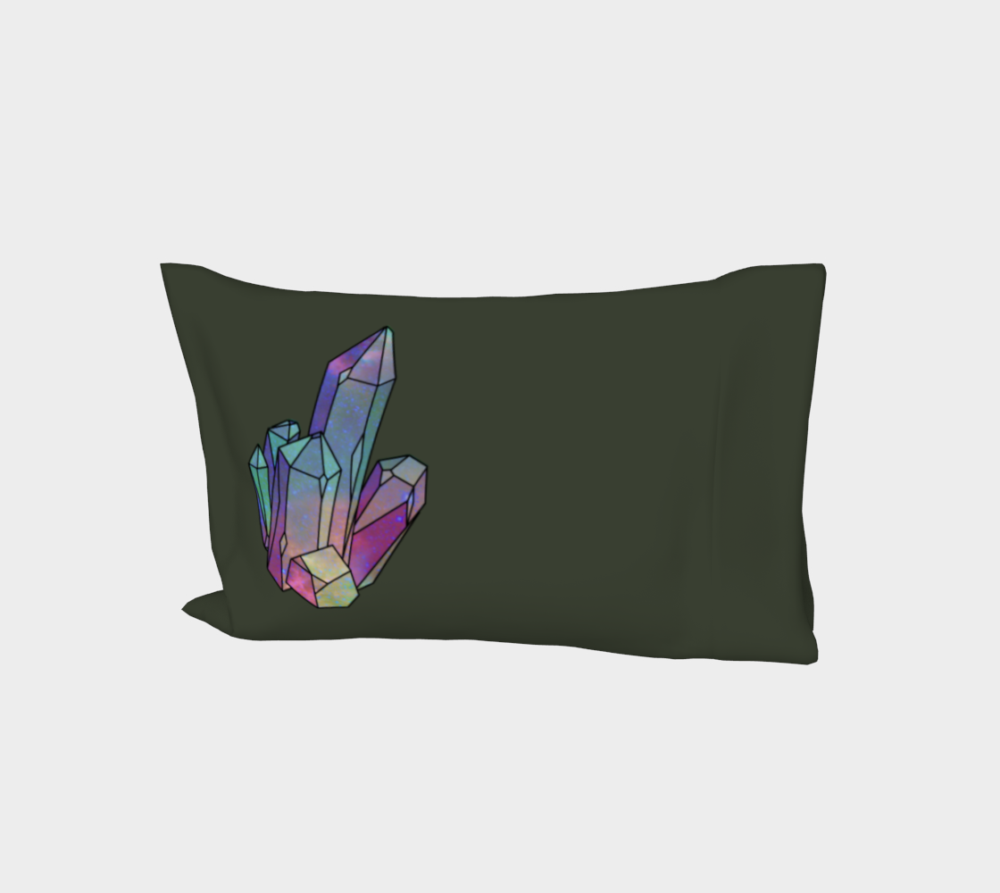 Cosmic Crystals Quartz Rainbow Bed Pillow Sleeve  Sage preview